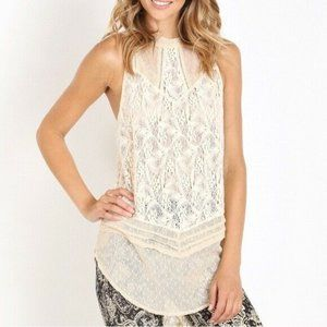 M Free people Modern mesh lace tunic high neck top